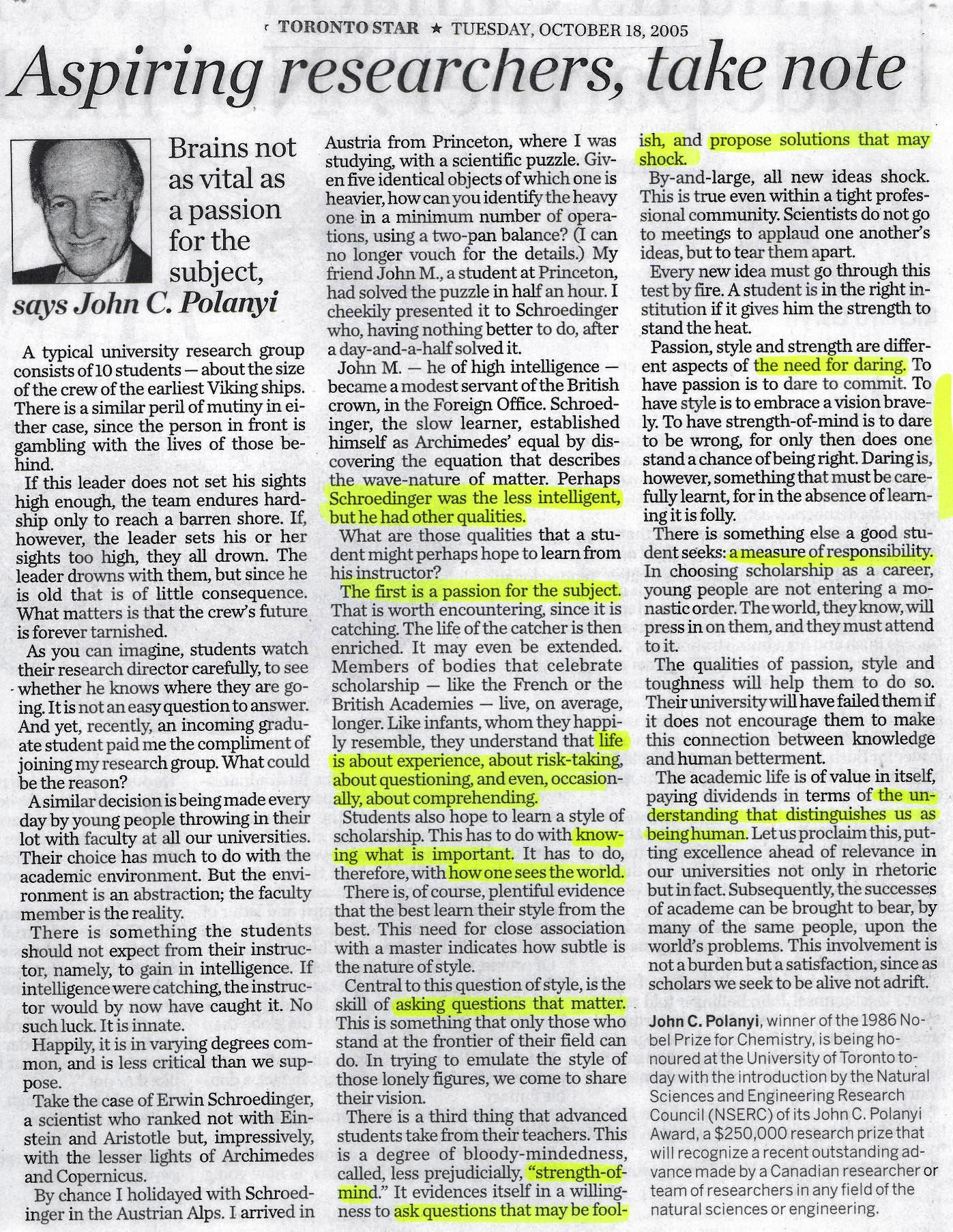 Brains not as vital as passion-John C.Polanyi-Oct 2005